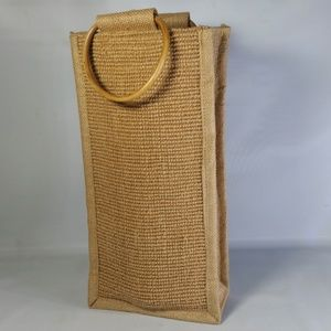 Other - Burlap Wine Bottle Bag w/Wood Hoop Handles Picnic